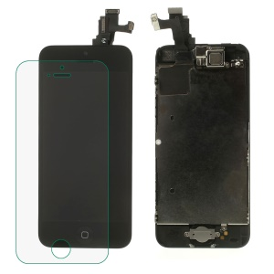 Black for iPhone 5c LCD Assembly (OEM Camera Holder + Front Camera + Earpiece Mesh + Sensor IC Holder + LCD Metal Plate + Home Button Flex Cable + Home Button Key & High Quality Glass Lens Etc)