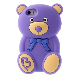 Adorable Bear Fragrant Soft Silicone Case for iPhone 5s 5 - Purple