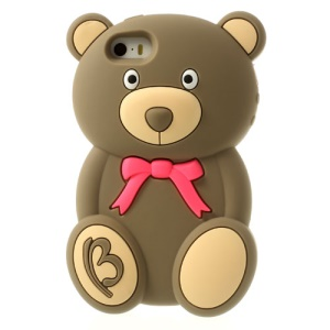 Adorable Bear Fragrant Soft Silicone Skin Case for iPhone 5s 5 - Brown