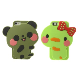 2PCS Adorable Panda & Bowknot Duck Silicone Couple Case Cover for iPhone 5s 5 - Army Green / Green