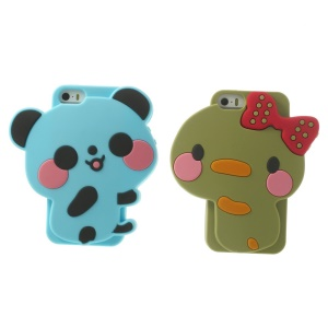 2PCS Adorable Panda & Bowknot Duck Couple Silicone Case for iPhone 5s 5 - Baby Blue / Army Green