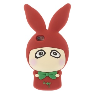 Cute Rabbit Shaped Matte Silicone Back Shell for iPhone 5s 5 - Red
