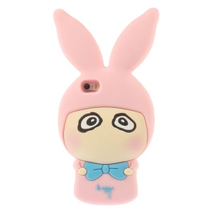 Cute Rabbit Shaped Matte Soft Silicone Shell for iPhone 5s 5 - Pink