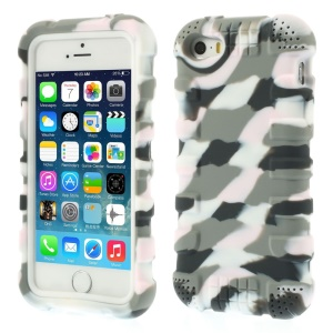 Anti-slip Soft Silicone Gel Case for iPhone 5s 5 - Camo Light Gray