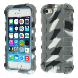 Anti-slip Soft Silicone Gel Cover for iPhone 5s 5 - Camo Dark Gray
