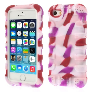 Anti-slip Soft Silicone Gel Shell for iPhone 5s 5 - Camo Pink