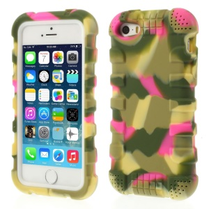 Anti-slip Soft Silicone Gel Shell Cover for iPhone 5s 5 - Camo Rose