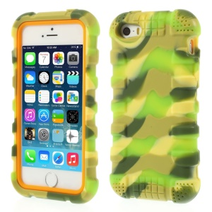 Anti-slip Soft Silicone Protective Case for iPhone 5s 5 - Camo Grass Green
