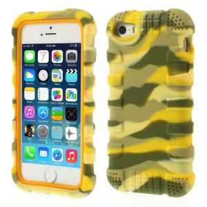 Anti-slip Soft Silicone Protective Cover for iPhone 5s 5 - Camo Yellow