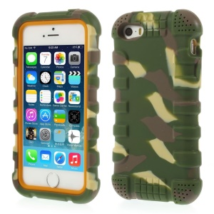 Anti-slip Soft Silicone Protective Shell Cover for iPhone 5s 5 - Camo Green