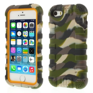 Anti-slip Soft Silicone Back Case for iPhone 5s 5 - Camo Army Green
