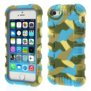 Anti-slip Soft Silicone Back Shell for iPhone 5s 5 - Camo Blue