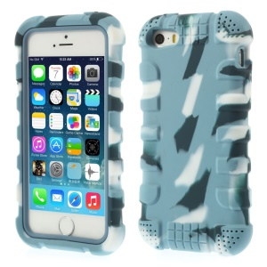 Anti-slip Silicone Back Cover for iPhone 5s 5 - Camo Light Blue