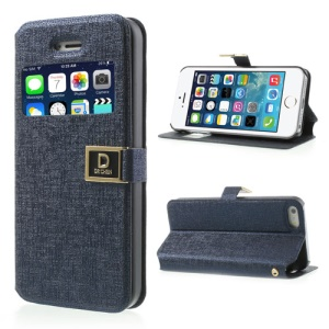 Dark Blue Oracle Grain Window View Leather Cover Stand for iPhone 5 5s