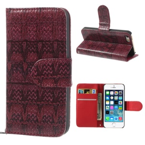 For iPhone 5s 5 Weave Pattern Leather Skin Stand Case - Red
