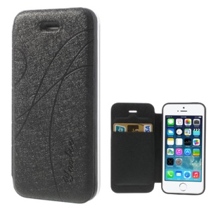Black Yastoo for iPhone 5 5s Arc Line Silk Leather Card Slot Cover