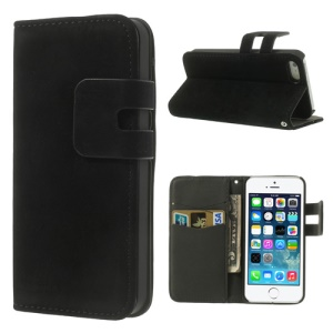 Black Soft PU Leather Credit Card Wallet Case Stand for iPhone 5s 5