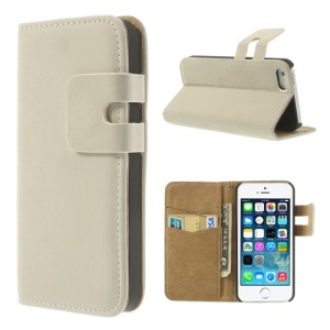 White Soft PU Leather Credit Card Wallet Case Stand for iPhone 5s 5