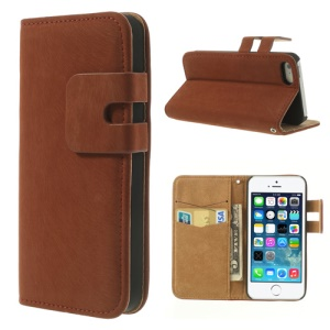 Orange Soft PU Leather Credit Card Wallet Cover Stand for iPhone 5s 5