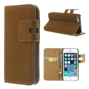 Dark Brown for iPhone 5s 5 Magnetic Soft PU Leather Cover w/ Card Slot & Stand