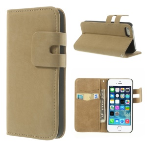 Light Brown for iPhone 5s 5 Magnetic Soft PU Leather Skin Shell w/ Card Slot & Stand