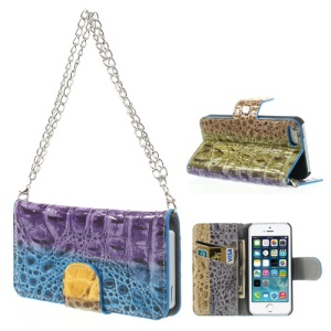 For iPhone 5s 5 Multi-color Crocodile Wallet Leather Handbag Style Case - Blue