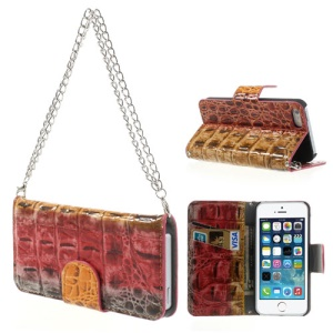 Multi-color Crocodile Magnetic Wallet Leather Handbag Style Cover for iPhone 5s 5 - Red