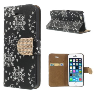 Glittery Powder Floral Pattern Diamond Magnetic Leather Stand Cover for iPhone 5 5s - Black