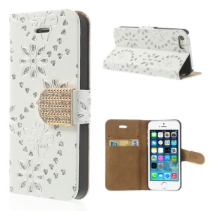 Glittery Powder Floral Pattern Diamond Magnetic Leather Stand Case for iPhone 5 5s - White