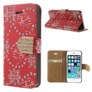 Glittery Powder Floral Pattern Diamond Leather Case w/ Card Slots for iPhone 5 5s - Red