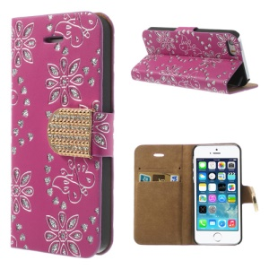 For iPhone 5 5s Glittery Powder Floral Pattern Diamond Leather Skin Cover w/ Stand - Rose