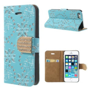 For iPhone 5 5s Glittery Powder Floral Pattern Diamond Stand Leather Phone Case - Sky Blue