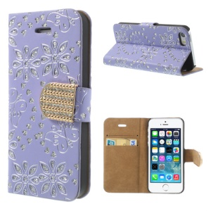 For iPhone 5 5s Glittery Powder Floral Pattern Diamond Leather Stand Case Cover - Lilac