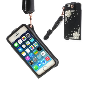Hzor Diamond Flower Leather Pouch Case w/ Neck Strap for iPhone 5s 5 - Black