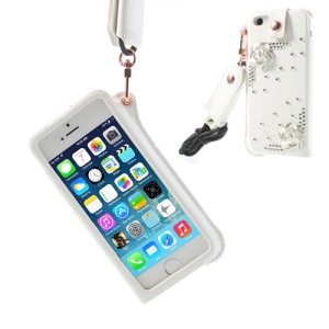 Hzor Diamond Flower Leather Pouch Cover w/ Neck Strap for iPhone 5s 5 - White