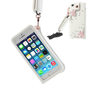 Hzor Pink Flower Diamond Leather Pouch Cover for iPhone 5s 5 w/ Neck Strap - White
