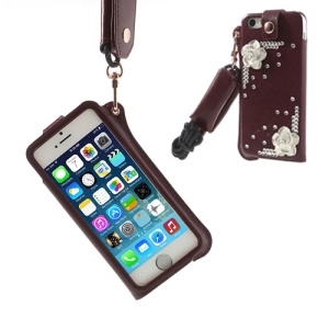 Hzor Flower Diamond Leather Skin Pouch for iPhone 5s 5 w/ Neck Strap - Dark Red