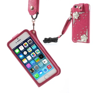 For iPhone 5s 5 Hzor Flower Diamond Leather Skin Pouch Case w/ Neck Strap - Rose