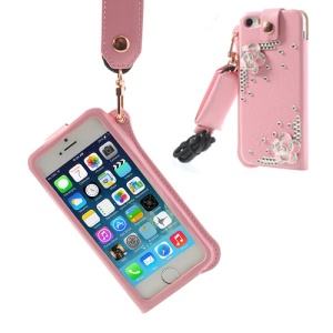 Hzor Pink Flower Diamond Leather Pouch Shell w/ Neck Strap for iPhone 5s 5 - Pink