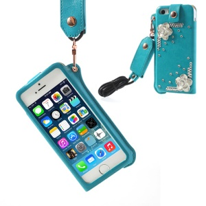 For iPhone 5s 5 Hzor Diamond Flower Leather Pouch Case Cover w/ Neck Strap - Blue