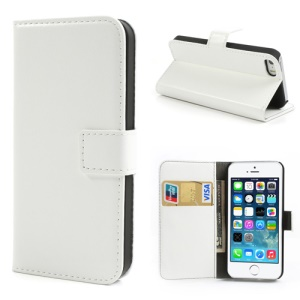 White Crazy Horse Credit Card Wallet Leather Case for iPhone 5s 5 w/ Stand
