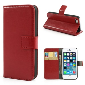 Red Crazy Horse Credit Card Wallet Leather Cover for iPhone 5s 5 w/ Stand