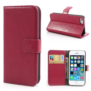 Rose Crazy Horse for iPhone 5s 5 Wallet Leather Cover w/ Stand