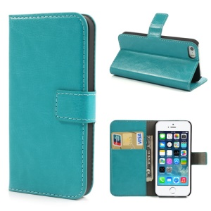 Light Blue Crazy Horse for iPhone 5s 5 Wallet Leather Cover w/ Stand
