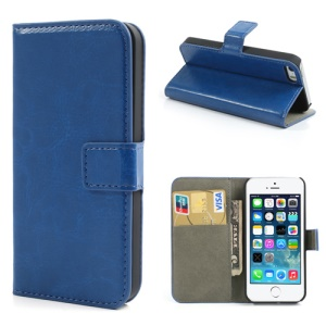 Dark Blue Crazy Horse for iPhone 5s 5 Wallet Leather Case w/ Stand