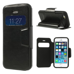 Black Window View Crazy Horse Leather Stand Case for iPhone 5 5s