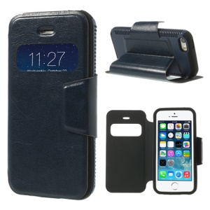 Dark Blue Window View Crazy Horse Leather Case w/ Stand for iPhone 5 5s