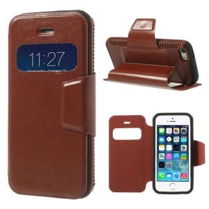Brown Window View Crazy Horse Leather Cover w/ Stand for iPhone 5 5s