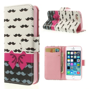 Mustaches & Bowknot for iPhone 5 5s Cross Pattern Leather Wallet Cover