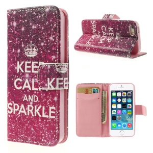Quote Keep Calm and Sparkle for iPhone 5 5s Cross Pattern Leather Wallet Cover
